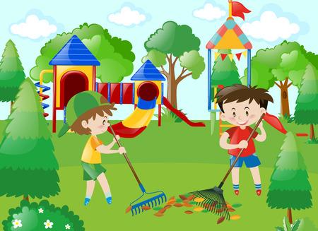 Two boys sweeping leaves in park illustration Illustration