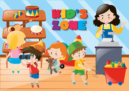 Children buying things in kids zone illustration