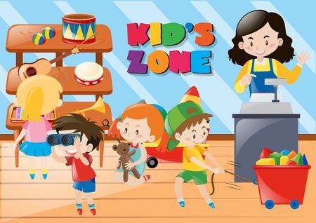Children buying things in kids zone illustration