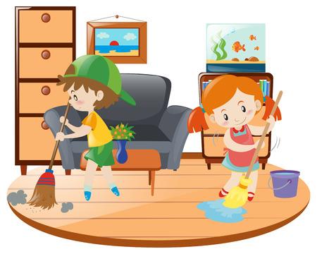 Boy and girl cleaning living room illustration Illustration
