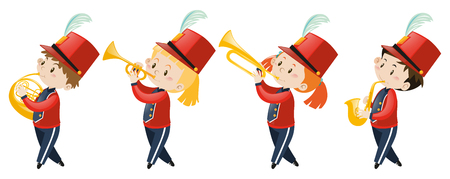 school band: Four kids playing music in school band illustration Illustration