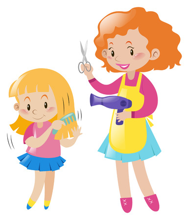 combing: Girl combing hair and mother with blow dryer illustration