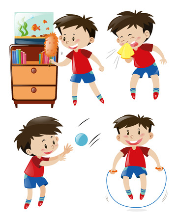 red shirt: Boy in red shirt doing different activities illustration Illustration
