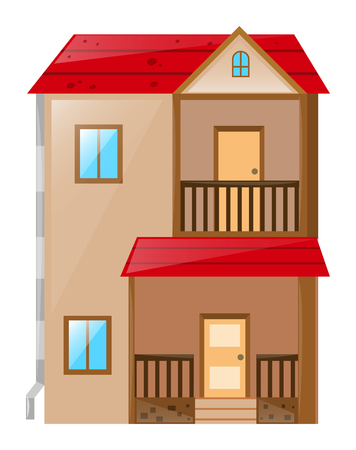 red roof: Two stories house with red roof illustration
