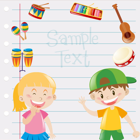 Paper design with kids and musical instruments illustration Illustration