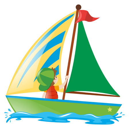 barco de vela del muchacho en la ilustración del mar
