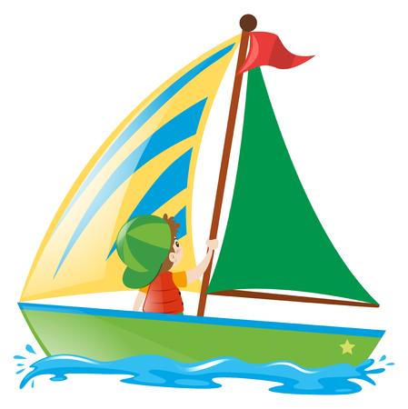 Ragazzo barca a vela nel mare illustrazione