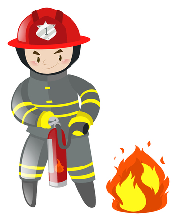 dangerous man: Fire fighter with extinguisher illustration
