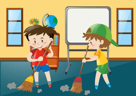 Two boys sweeping classroom floor illustration