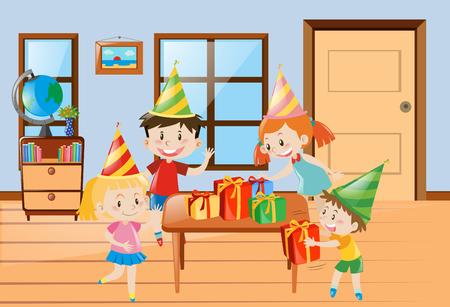 children party: Children having party at home illustration