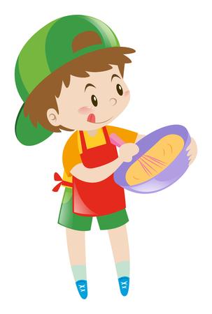Little boy beating flour in bowl illustration