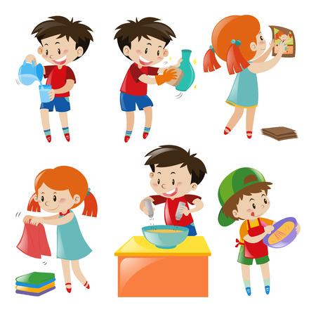 Children doing different things illustration Stock Illustratie