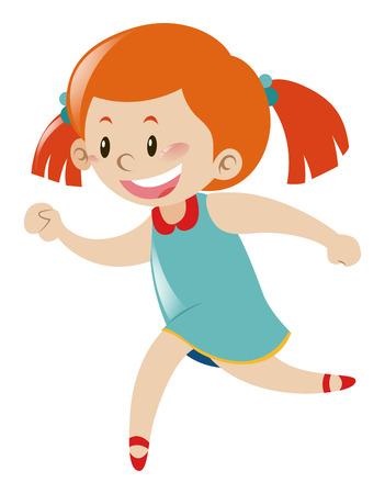 blue dress: Little girl in blue dress running illustration