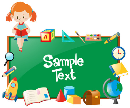 Frame design with girl reading book and school objects illustration