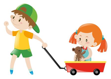 それのイラストの女の子と赤いカートを引き少年
