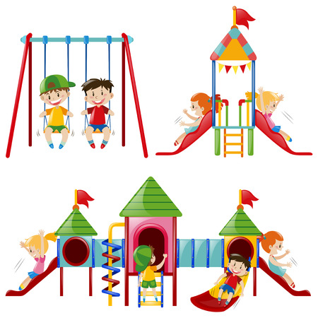 Kids playing on different kinds of playground illustration Illustration