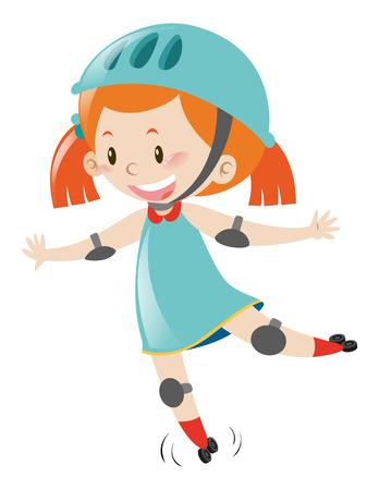 Little girl in blue wearing helmet when skating illustration Illustration