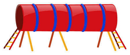 Red tube with ladders at both ends illustration Illustration