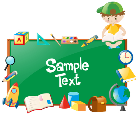 Border design with boy and many school objects illustration