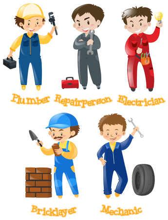Different kinds of construction jobs illustration