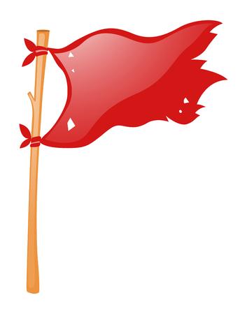 wooden stick: Red flag on wooden stick illustration