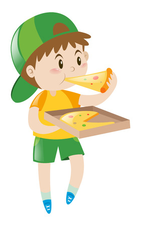 Little boy eating pizza  illustration