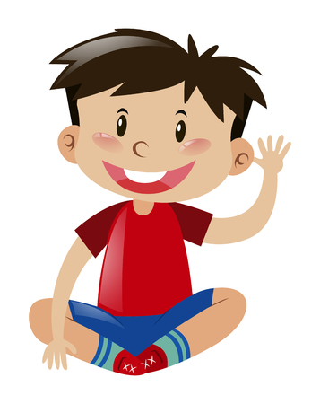 red shirt: Little boy in red shirt waving hand illustration