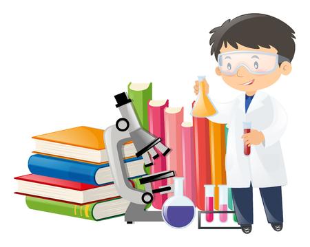 Scienziato e apparecchiature scientifiche illustrazione