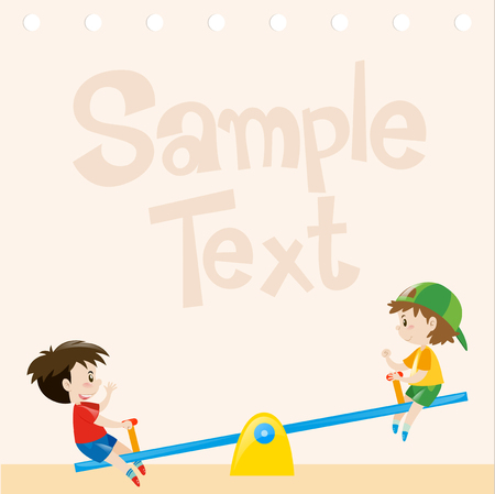Paper design with boys on seesaw illustration