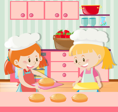 two girls: Two girls making pie in kitchen illustration