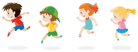 Cuatro niños corriendo por la ilustración
