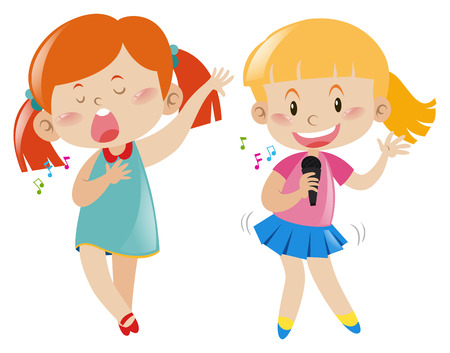 Two girl singing and dancing illustration
