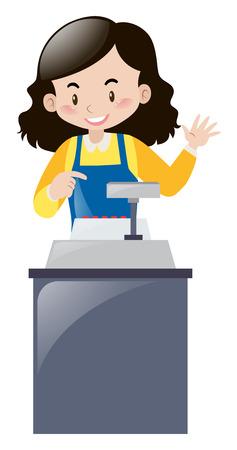 oficinista: empleado de sexo femenino que trabaja detrás del mostrador de la ilustración Vectores