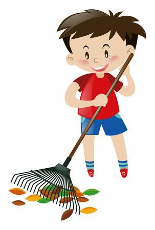 raking: Cute boy raking dried leaves illustration