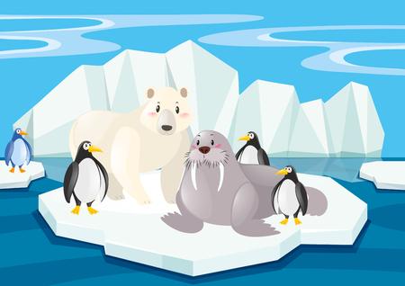 Wild animals in the North Pole illustration Illustration
