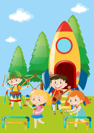 triangle musical instrument: Children playing music in park illustration Illustration