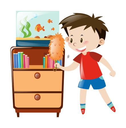 fishtank: Boy dusting shelf and fishtank illustration Illustration