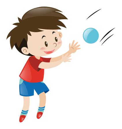 青いボールの図を引く赤いシャツを着た少年