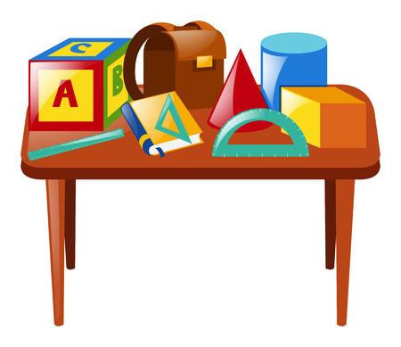 Many school materials on table illustration Illustration