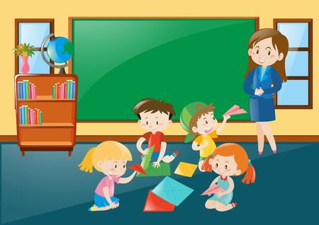 papercraft: Students folding papercraft in classroom illustration Illustration