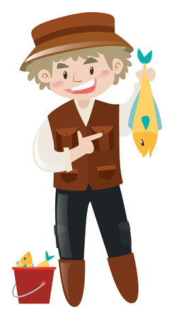 dead fish: Fisherman holding dead fish in hand illustration