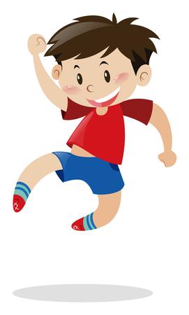 saltar: Boy en camisa roja saltando encima de la ilustración