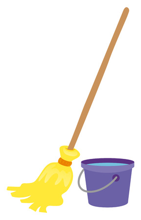 Mop and water bucket illustration Çizim