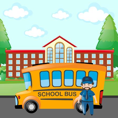 driving school: Driver driving school bus illustration Illustration
