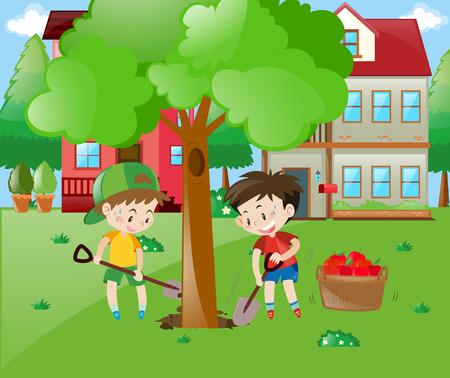 Two boys planting big tree in the garden illustration