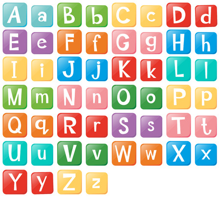 Font design with English alphabets illustration Vectores