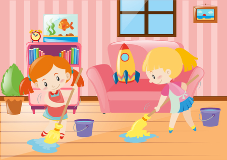 two girls: Two girls mopping living room illustration