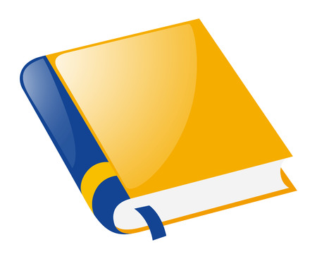 Yellow book on white background illustration