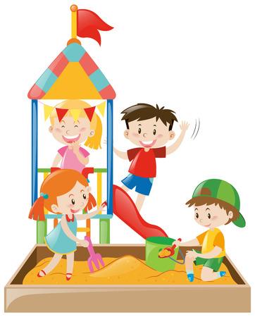 Kinderen spelen in de zandbak illustratie