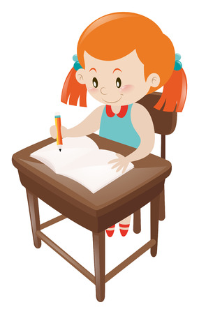 blue dress: Girl in blue dress writing on notebook illustration